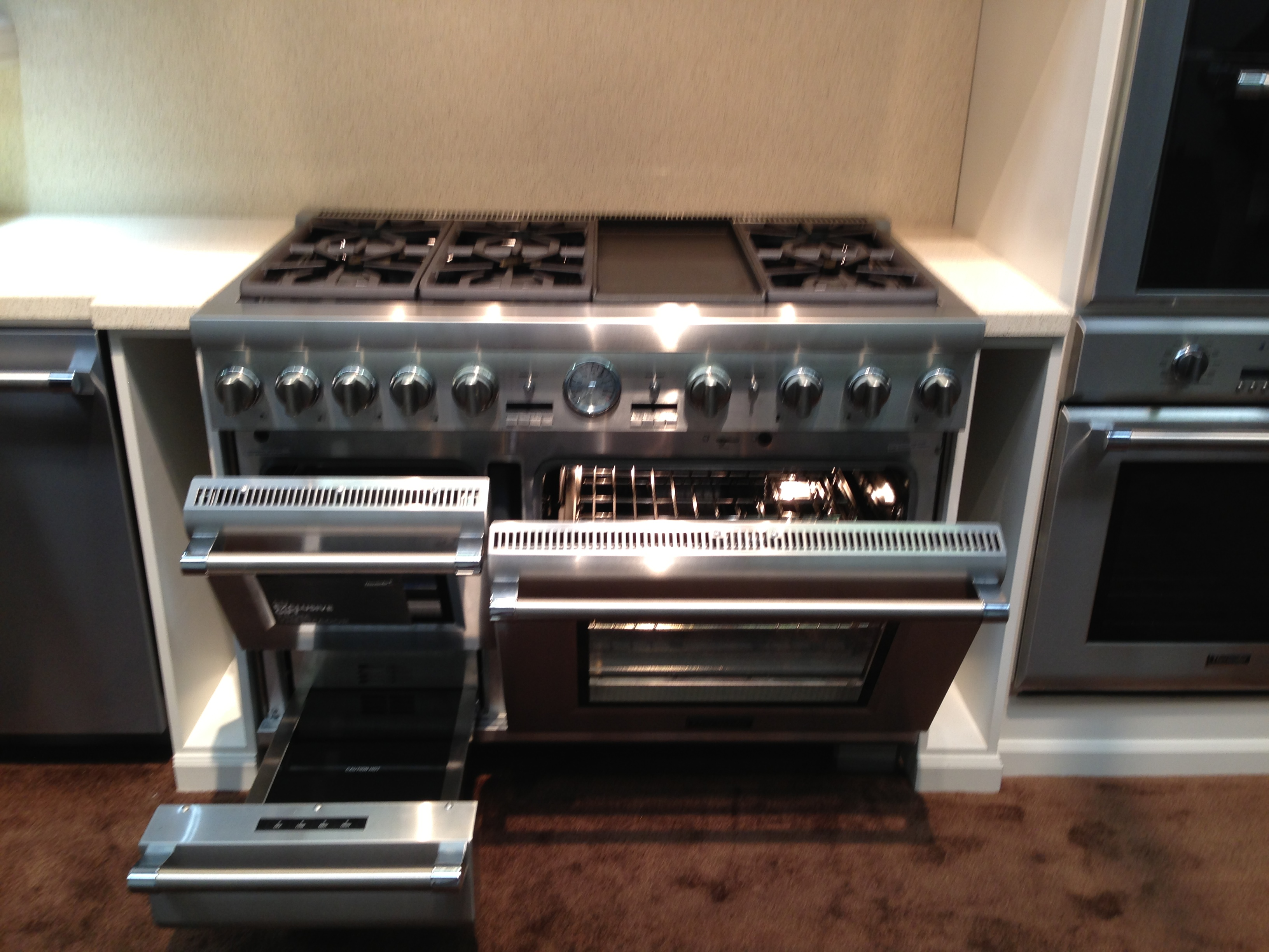 steam oven warming drawer convection oven griddle and six burners the